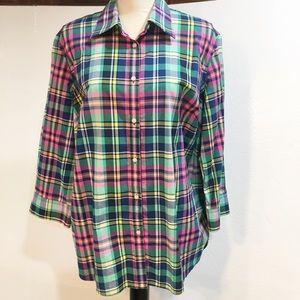 Chaps ladies 3/4 sleeve plaid blouse L/XL no tag